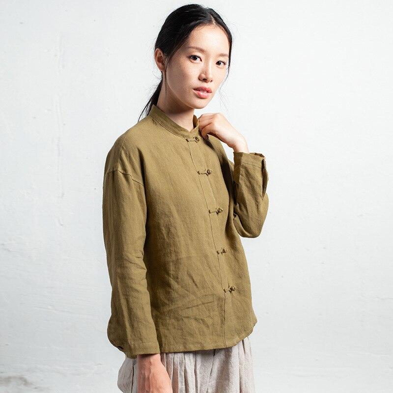 Mujeres De Diseño Original Camisa Literatura Estilo 2019 Retro D977 Amarillo Puro Ropa Lino Mujeres Nuevo Las Chino Chaqueta EppqZAr6