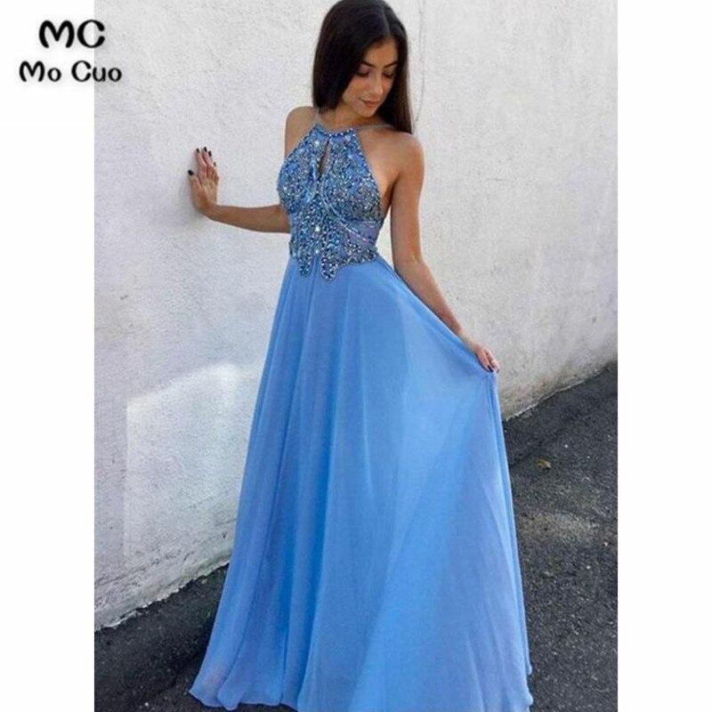2018 Beaded Prom dresses Long with Crystals Vestidos de fiesta dress for graduation Halter Chiffon Formal Evening Dress