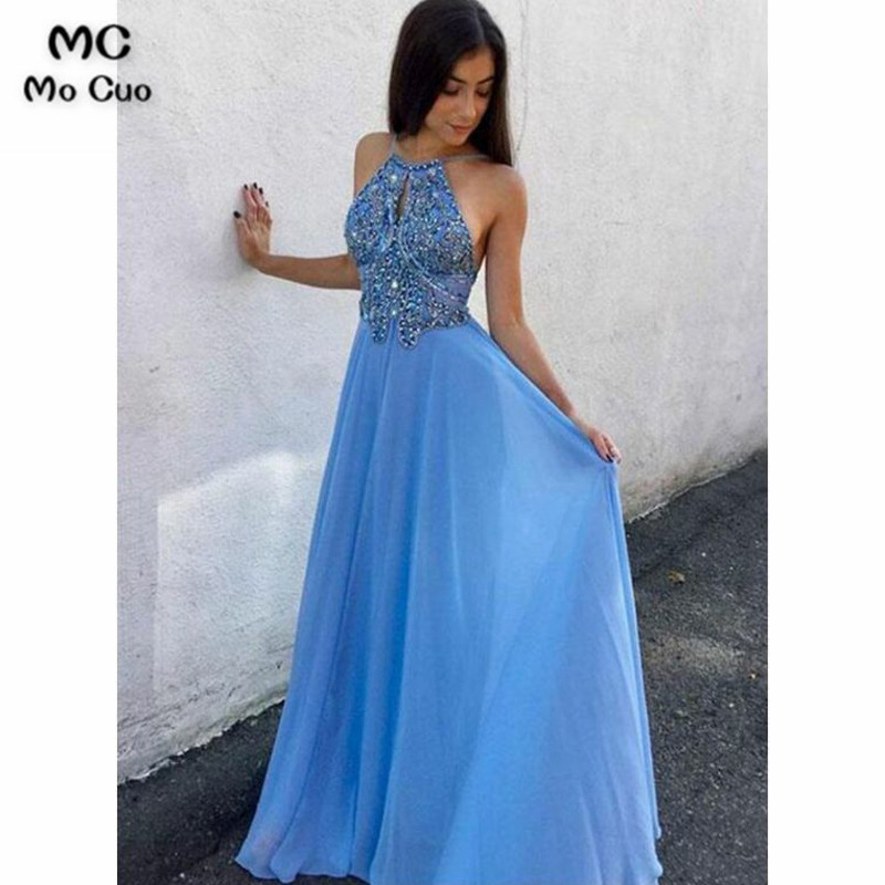 2018 Beaded   Prom     dresses   Long with Crystals Vestidos de fiesta   dress   for graduation Halter Chiffon Formal Evening   Dress