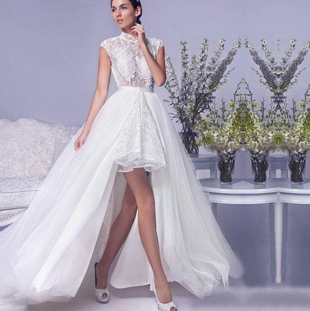sexy dos ouvert dentelle robe de mari e col haut amovible jupe robe de mariage robe de mari e. Black Bedroom Furniture Sets. Home Design Ideas