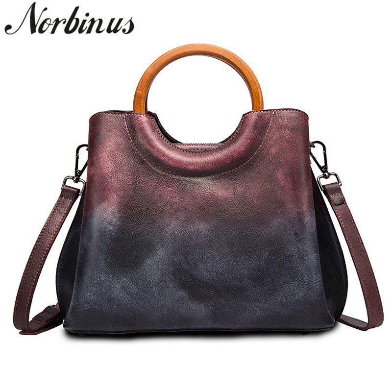 Norbinus Vintage Women Genuine Leather Bags Brush Color Crossbody Purse Handbags Fashion Messenger Shoulder Top Handle