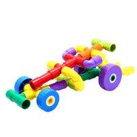 500g Baby Colorful Plastic Wheel Irregular Tunnel Shape Educational Building Blocks Toys Handmade DIY Early Learning