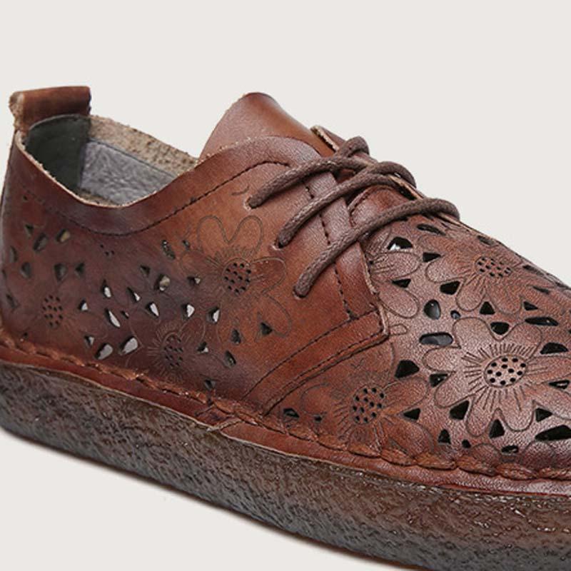 Casual Femmes Main En Vent Sauvage Plat De Britannique Fond Nouvelle Mou Et rouge Été La Américain À Rétro Noir Européen brown Chaussures Cuir HTwqf