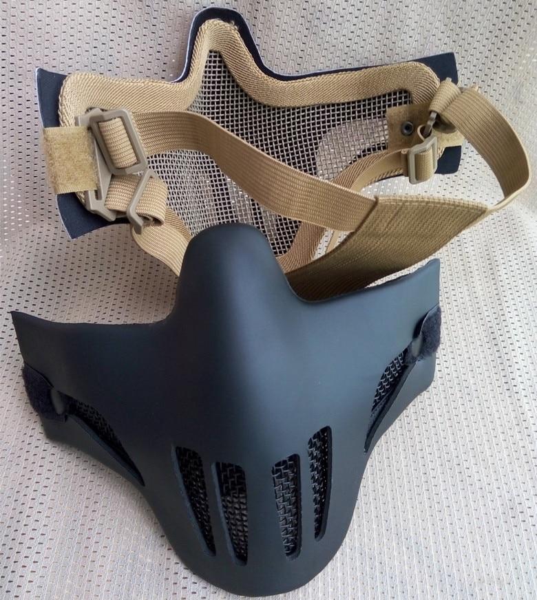 Tactics Half face malla de red de cuero de metal proteger máscara - Disparos - foto 1