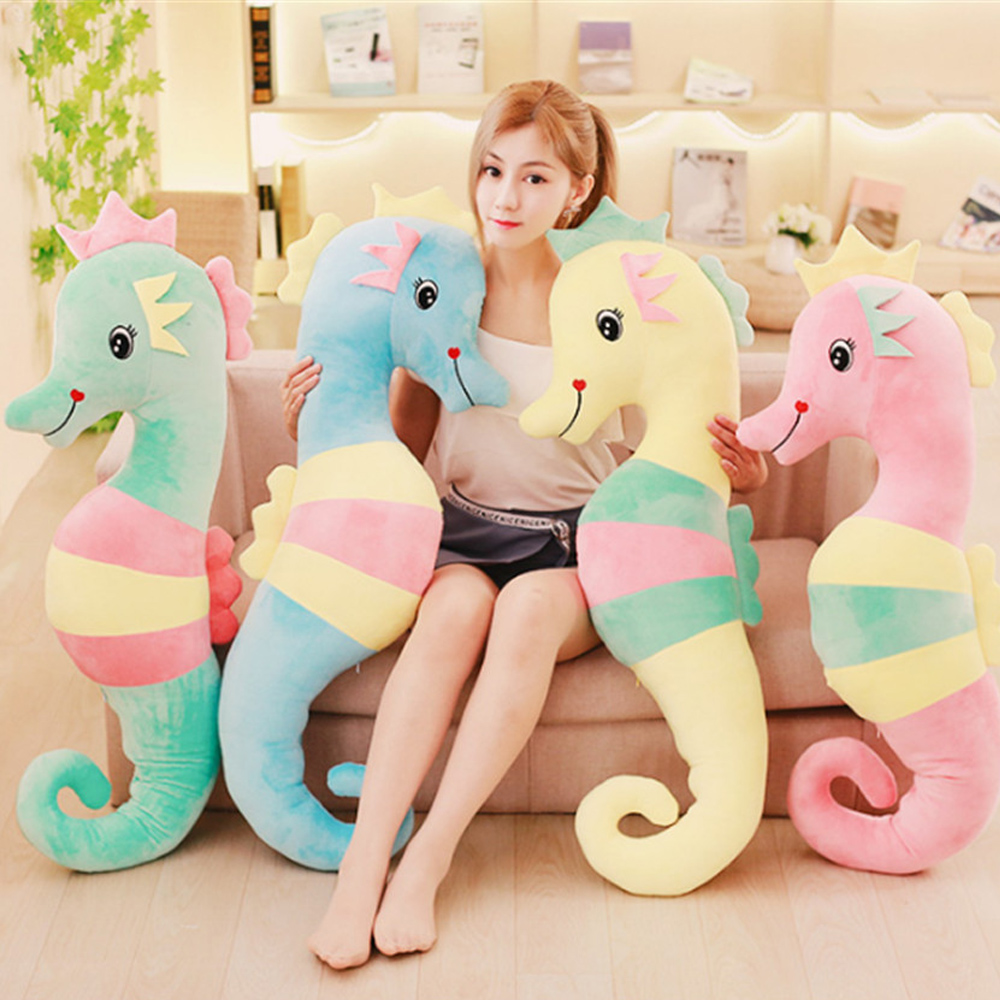 Fancytrader Lovely Pop 160cm Large Soft Animal Sea Horse Stuffed Pillow 63'' Stuffed Cartoon Hippocampal Toy Doll Kids Gift fancytrader seal plush baby doll large stuffed cartoon animal arctic seal toy white bear kids gift pillow 39inches 100cm