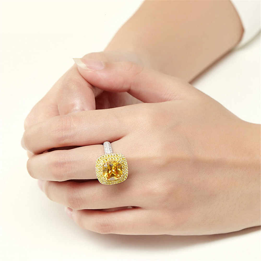 OneRain Luxury 100% 925 เงินสเตอร์ลิง Citrine Wedding แหวนหมั้นเพชรค็อกเทลสำหรับแหวนผู้หญิงเครื่องประดับขายส่ง