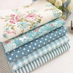 Пряди из хлопка и льна с принтом в горошек с красивыми синими цветами, 22x24 см для украшения шитья своими руками