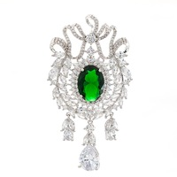 5A Cubic Zirconia Green Dangle Olive Branch Brooch Broach Pin High Quality Women Jewelry Dress Accessories B0068