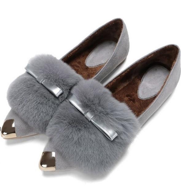 Women Real Rabbit Fur Shoes Flats Autumn Winter Bowtie Metal Pointy Toe Short Plush Moccasins Loafers Boat Shoes Plus Size 35-43