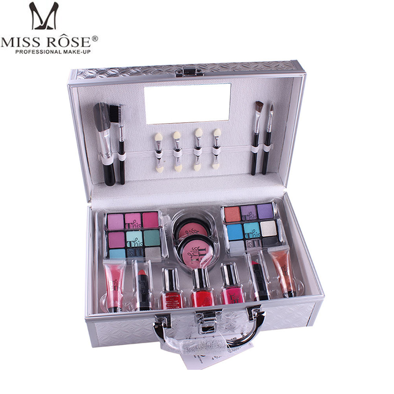 Miss Rose Makeup Eyeshadow Palette Alloy Box Cosmetic Tool Shimmer Eye Shadow Blusher Lipstick Collection Makeup Brush Set Kit newly design fashion blusher cosmetic makeup brush sep11
