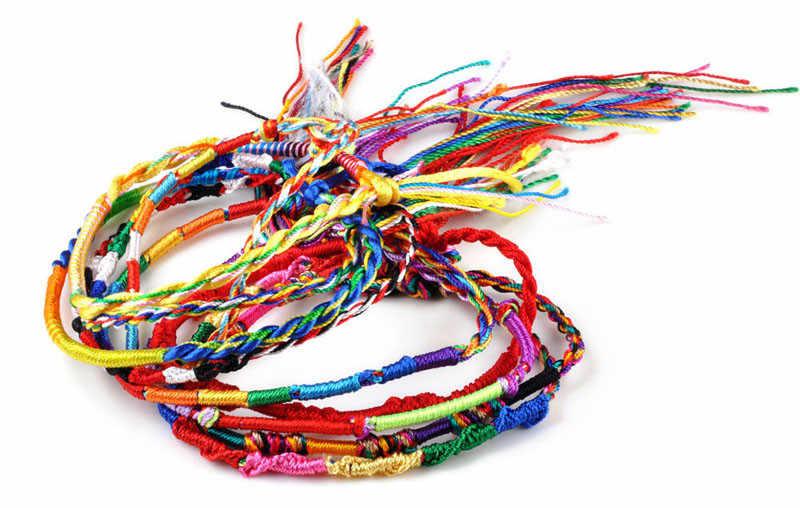 50 pezzi bracciali ragazze braccialetti gioielli regalo fai da te braccialetto di corda di fascino arcobaleno lotti treccia fili braccialetto di amicizia braccialetto fatto a mano