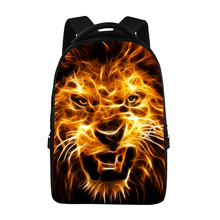 Fashion Gold Lion Leopard Wolf Print Casual Animal Shoulder Backpack Men Boys Girls Durable Book Bag
