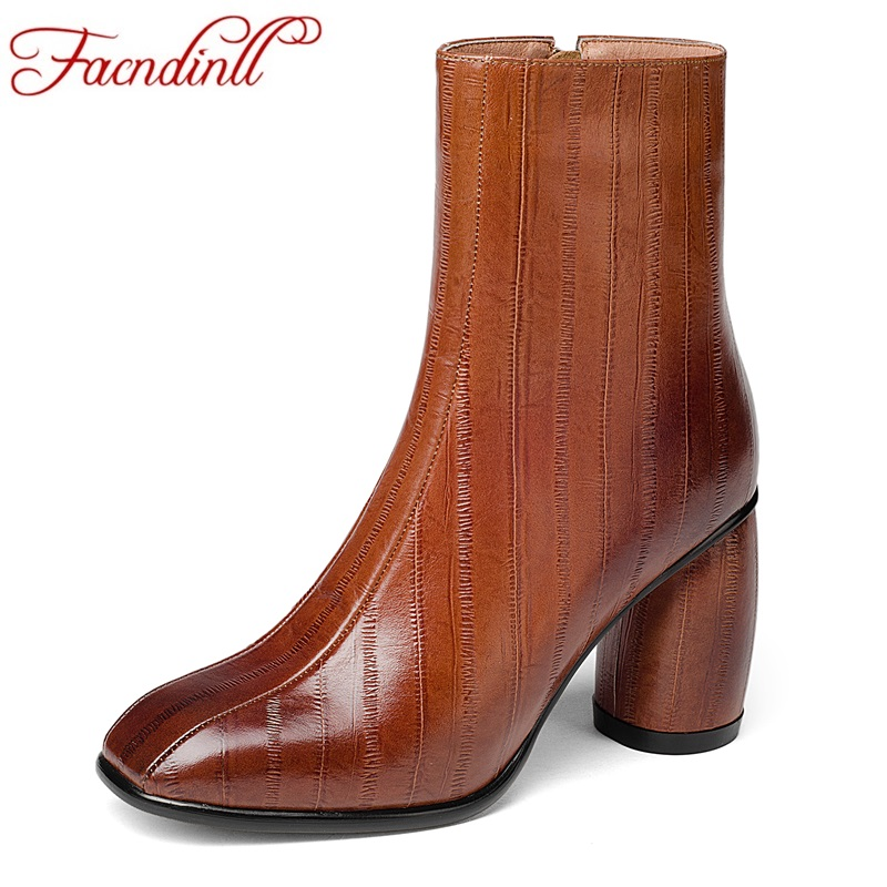 FACNDINLL handmade genuine leather ankle boots for women dress shoes sexy high heels autumn winter warm shoes woman bootie botas 2016 autumn slope high heels genuine leather shoes handmade painted flowers casual and comfortable women ankle boots 1503 01