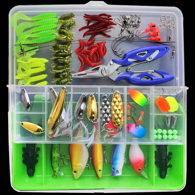 100pcs Lure Kit Set Minnow Popper Crankbait VIB Spinner Spoon Soft Worm Maggot <font><b>Fishing</b></font> Lure Hooks Pliers Trace Wire Connector