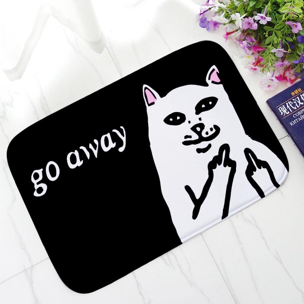 Cat With Middle Finger Door mats Coral velvet carpet Humorous Funny Words Go Away Entrance Indoor