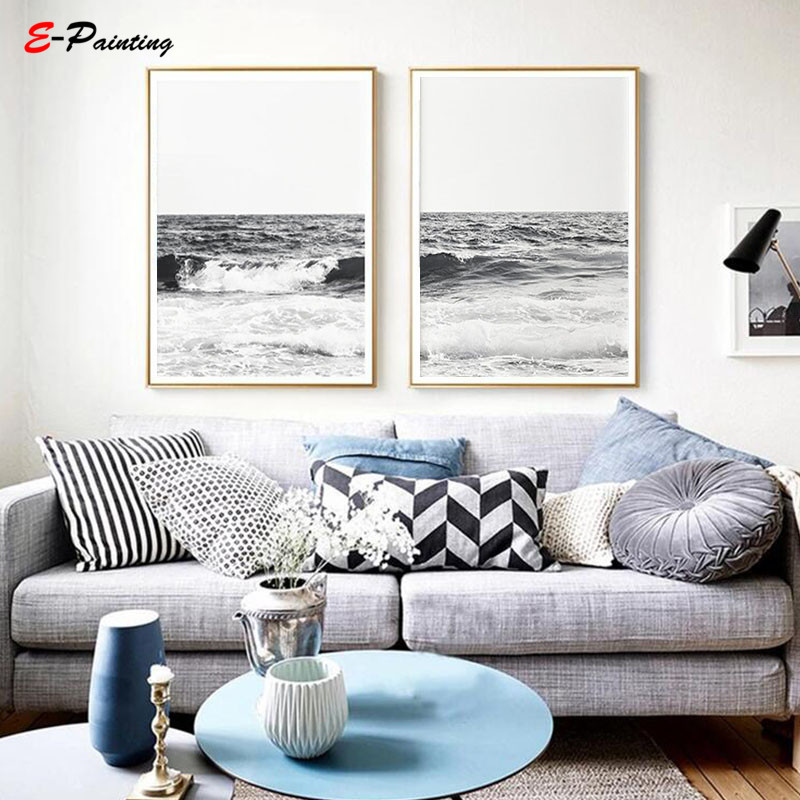 SEASIDE BLACK WHITE BOAT Art Print Poster Home Decor Room Wooden Nautical Water