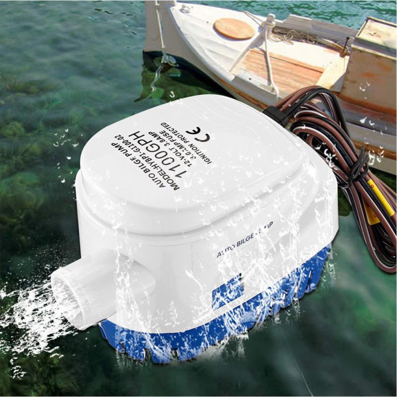Electric <font><b>Bilge</b></font> Water <font><b>Pump</b></font> 12/24V <font><b>750GPH</b></font>/1100GPH For Submersible Auto <font><b>Pump</b></font> With Float Switch Sea Boat Marine Bait Tank Fish image