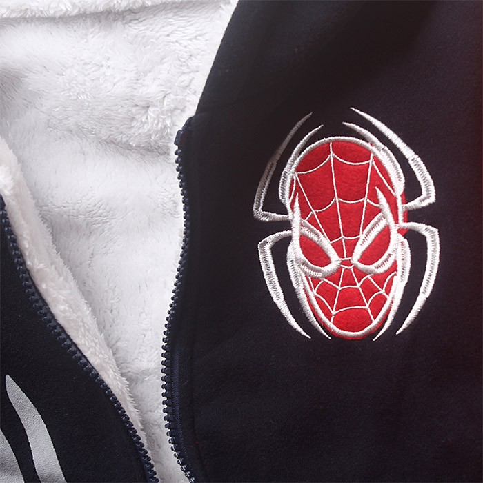 5-9 Y Spiderman hoodie boy jackets fur coat kids hooded bomper jacket winter autumn warm outwear cloth Size For 5 6 7 8 9 years (1)