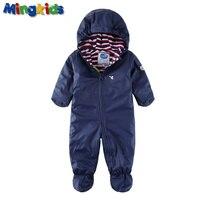 Mingkids New Arrivals Boy Outdoor Rompers PU Hooded Fleece Padded Jumpsuit Warm Rain Windproof Waterproof Autumn