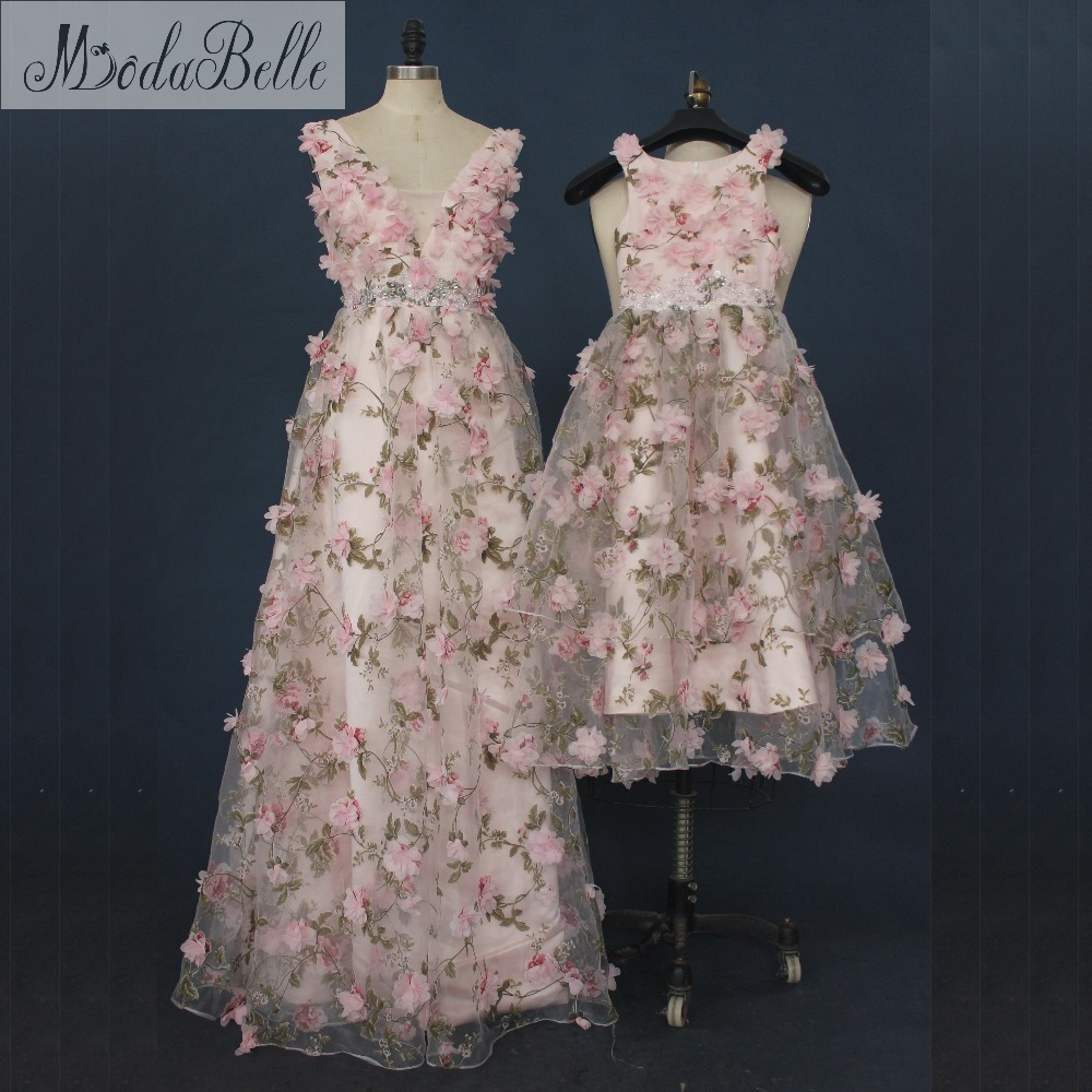 modabelle Puffy Mother And Daughter   Prom     Dresses   With 3D Flowers Floral   Prom   Gowns Girl Pageant Party   Dresses   Formal Occasion