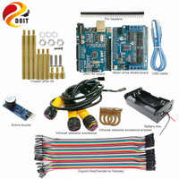 DOIT IR Obstacle Avoidance Kit with UNO R3 Board+Motor Drive Board+IR Obstacle Avoidance Sensor+Active Buzzer for Arduino
