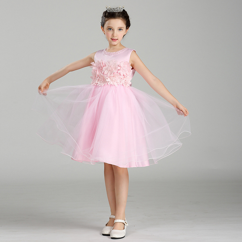 2017 New Flower Girls Party Dress Embroidered Formal Bridesmaid Wedding Girl Christmas Princess Ball Gown Kids Vestido kids girls bridesmaid wedding toddler baby girl princess dress sleeveless sequin flower prom party ball gown formal party xd24 c