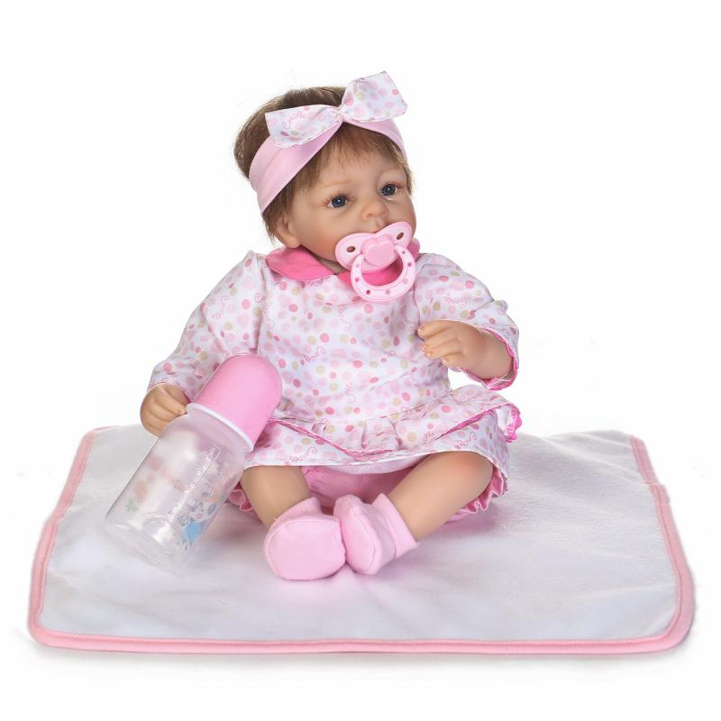 NPKCOLLECTION 40cm Soft silicone reborn baby doll toys lifelike lovely newborn babies girl dolls kids brinquedos play house toy