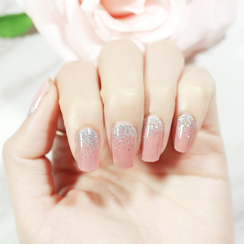 20Pcs/Pack Pink Silver Nail sticker Full waterproof Non-toxic Nail Art Water Decals Nails Transfer Stickers Decoration Tools