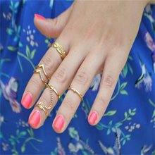 KLEEDER Ancient Jewelery And Accessories Geometry Gold Crystal Leaf V Shaped Joint Rings Finger Chain 6 Piece Set Ring For Women(China)