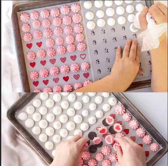 Customized Mix Heart Shape Pattern Sugar Stamp Transfer Paper For Valentine's Day wedding chocolate decoration sheet cake tools