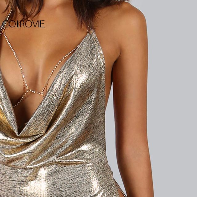 COLROVIE Metallic Plunge Cowl Party Dress Gold Sexy Slit Backless Women Summer Dresses 2017 Mini Bodycon Draped Slim Club Dress