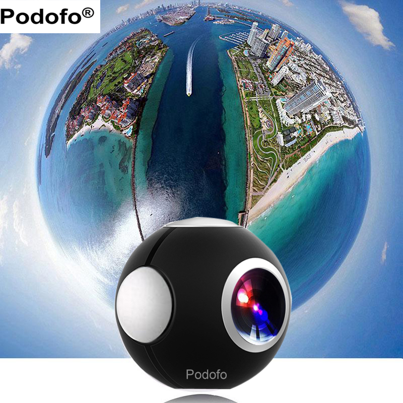Podofo 360 Caméra Panoramique Mini Caméra 360 HD Large Double Fish Eye VR Vidéo Caméra pour Android Sport Action caméra TypeC