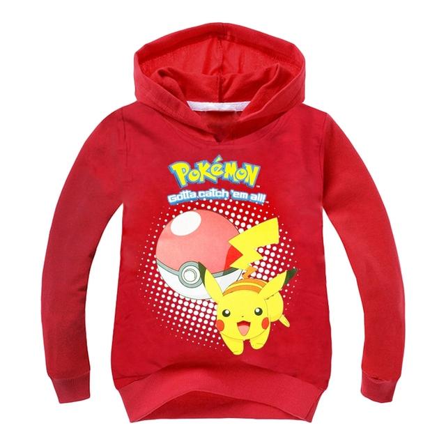 Meninos Meninas crianças Hoodies 2016 New Pokemon Ir Com Capuz Bebê Outono Camisas de Manga longa Azul Vermelho Rosa Tops Para 3-9 Anos GT45