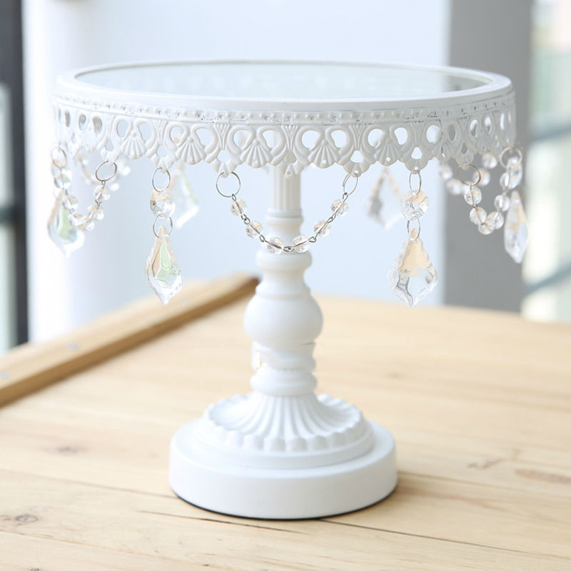 glass cake stand white iron and glass cake stand wedding party decoration supplier baking u0026 pastry cake cookie tools 3pcssetin stands from home u0026 garden