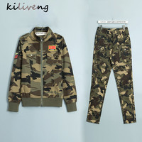 Kiliveng Military Style 2 Pcs Set Camouflage Women S Suits High Quality Mid Waist Cargo Camouflage