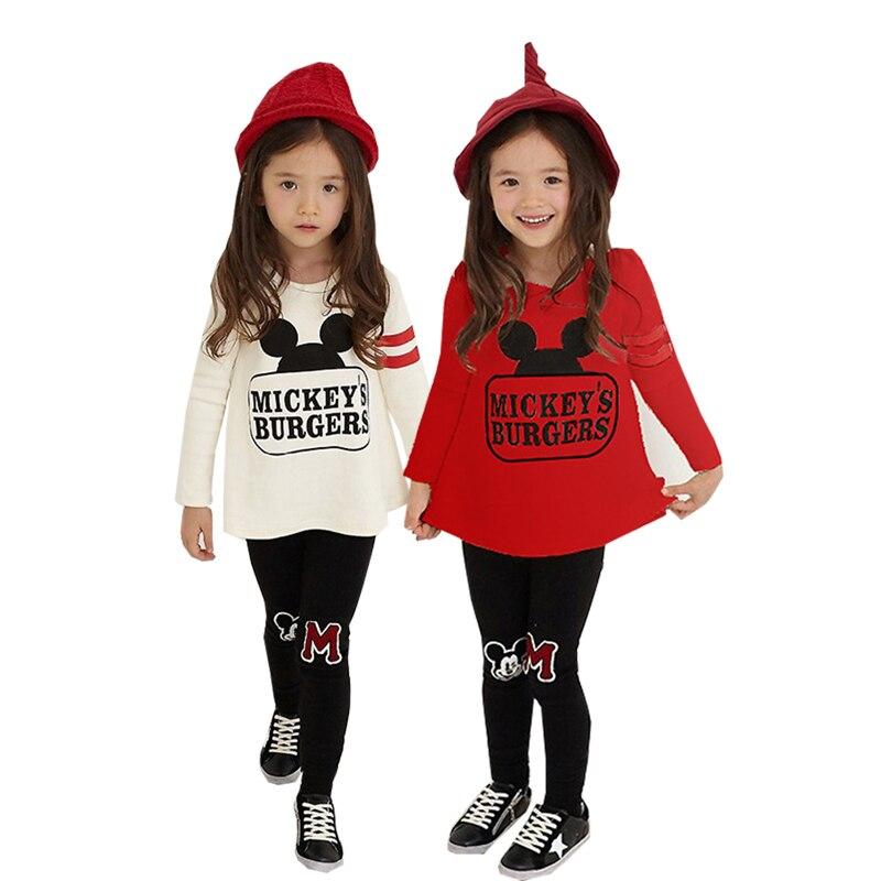 Mädchen Kleidung Cartoon Mickey Minnie Brief Druck Langarm Hemd Grundiert Hosen Set 3-8 Y Kind Qualität Kleidung heißer Verkauf