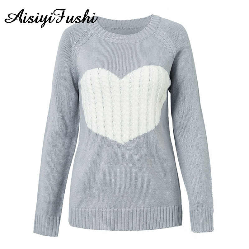 f58ddf09f18d ... Winter Women Jumper Warm Heart Sweater Female Oversize Ribbed Sweater White  Knitted Sweaters With Embroidery Pull ...