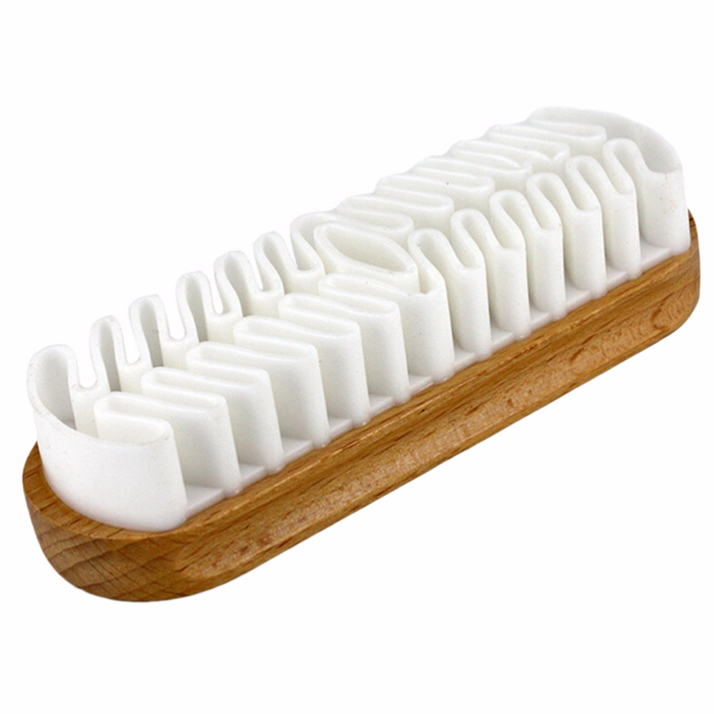 Wooden Rubber Crepe Shoe Brush Leather Brush For Suede Boots Bags Scrubber Cleaner White High Quality