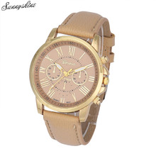 New Women's Watches Geneva Roman Numerals Faux Leather Clock Analog Quartz Wrist Watch wholesale F3