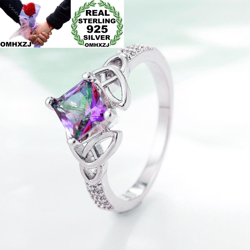 OMHXZJ Wholesale Personality Fashion OL Woman Girl Party Wedding Gift Colorful Topaz AAA Zircon 925 Sterling Silver Ring RN128