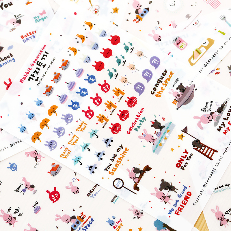 Korean Stationery Cute Rabbit Generation Decorative Sticker Lovely Animals PVC Transparent DIY Stickers for Diary Planner