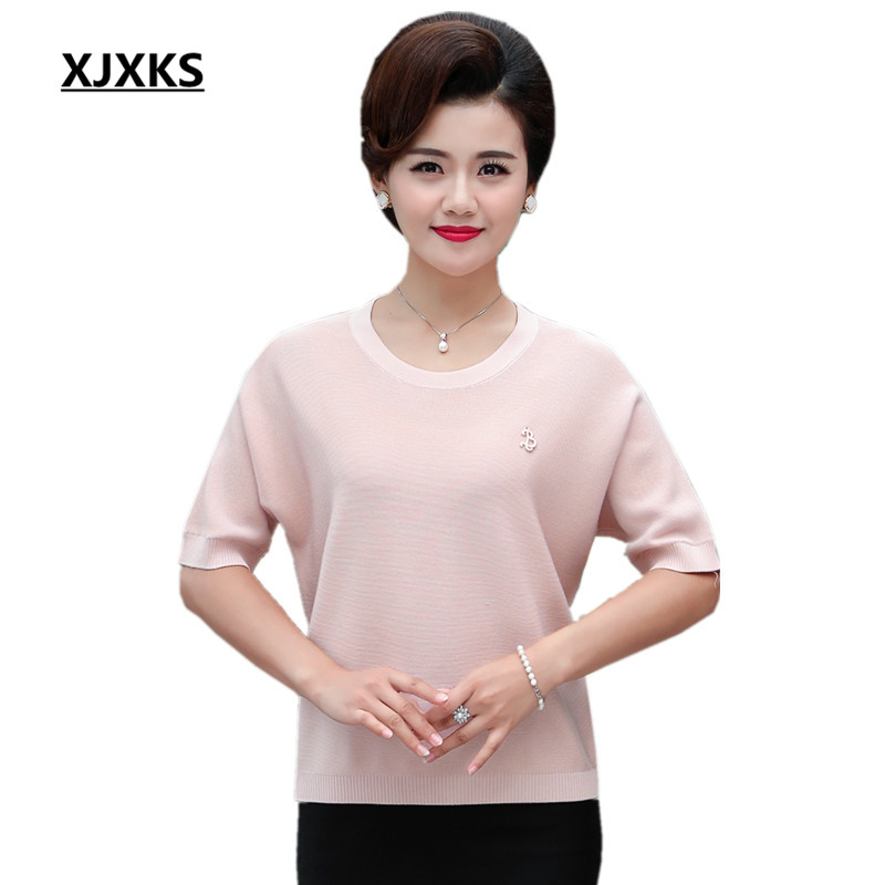 2018 Sweater Sleeve khaki Thin Red Knit leather Blue New Bat Short Fashion Xjxks Autumn Large Tops Women Loose Pullover Size pink sleeved ZqUE8Uxn