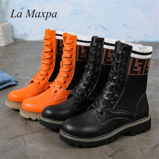 La MaxPa Dr. Martens Women s Boots Autumn Winter New Fashion Casual Martin  Boots Letters Knitted Socks Lace Up Flats Boots 3af0b0bb12fd