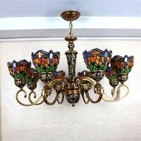 European Mediterranean Vintage Glass Pendant Light Artistic Tiffany Bar Cafe Lamp Dining Room Pendant Light Dragonfly Shape