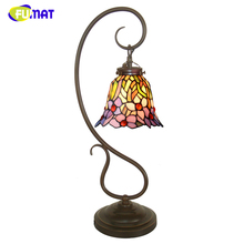 FUMAT Stained Glass Table Lamp Creative Art Glass Orchid Shade Lamp Living Room Bedside Lamps Book Store Bar LED Table Lights
