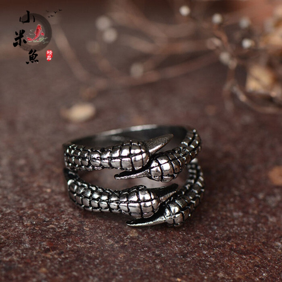 ANGOOD Men's Self-defense Fashion Ring Open Ring Personality Heavy Metal Eagle Claw Titanium Steel High Quality eagle claw opening ring 100