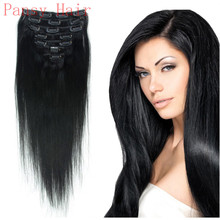 Remy Human Virgin Hair Straight Hairpieces Wigs Clip in Human Hair Extensions Full Head 15inch 18inch 20inch 22inch 1# Jet Black