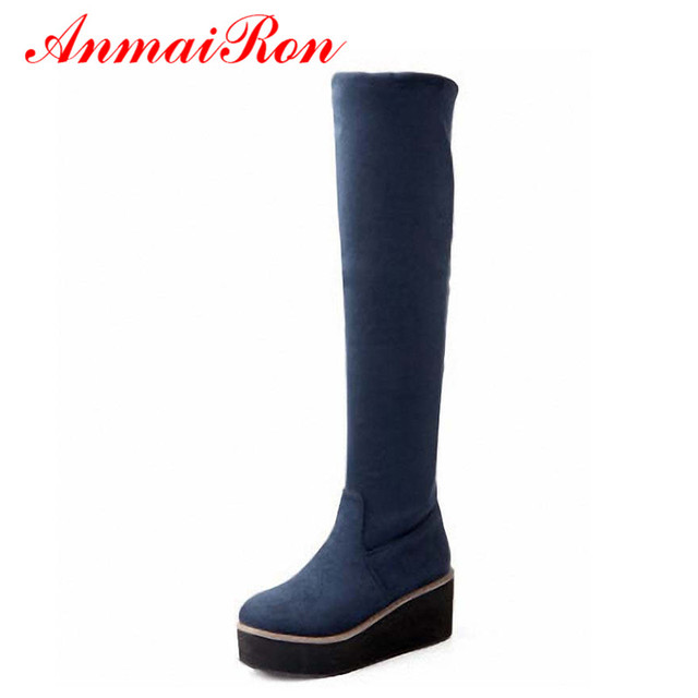 efbd8538830 ANMAIRON Size 4-10.5 Sexy Fashion Round Toe Women Over-the-Knee Boots  Winter Warm Wedges High Platform Boots Snow Long Boots