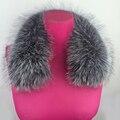 2016 Nova Gola de Pele De Raposa Mulheres de Pele De Raposa de Prata Real praça Anel Colar Cachecol Womens100 % Genuine Collar Natural Fox Fur acessórios