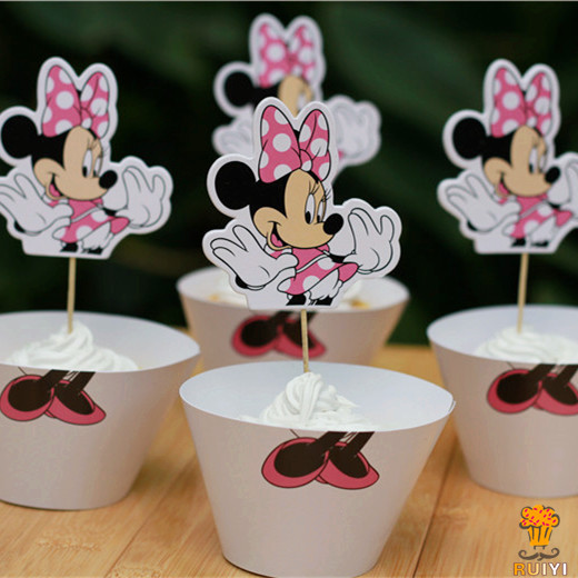 24pcs Party Decoration Wedding Cupcake Wrappers Favors white Minnie Cup Cake Toppers Picks AW-0040